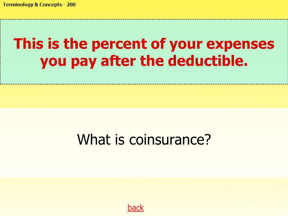 This is the percent of your expenses you pay after the deductible.