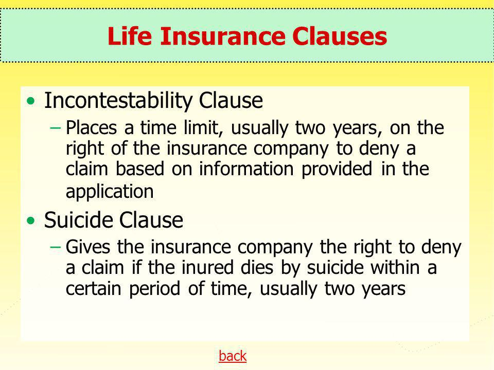 Life Insurance Clauses