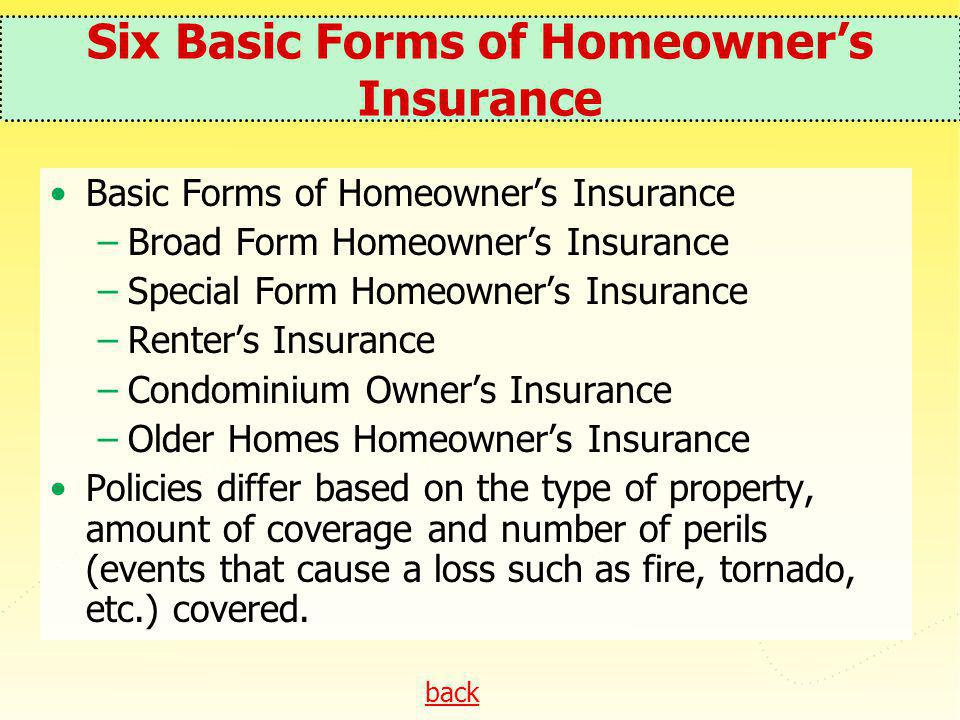 Six Basic Forms of Homeowner's Insurance