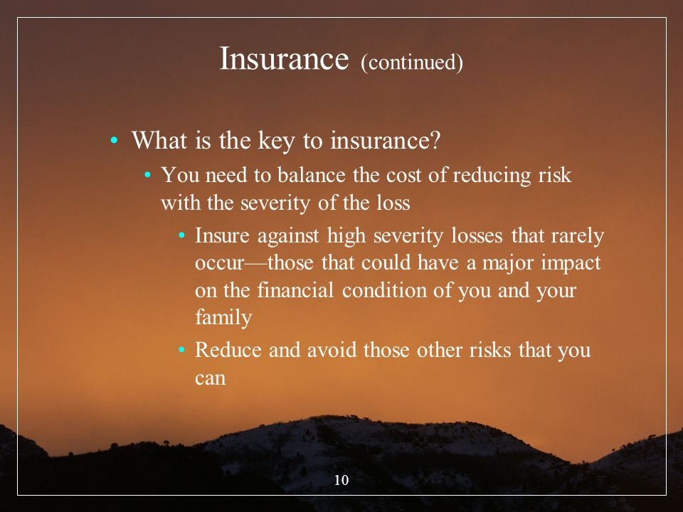 Insurance (continued)