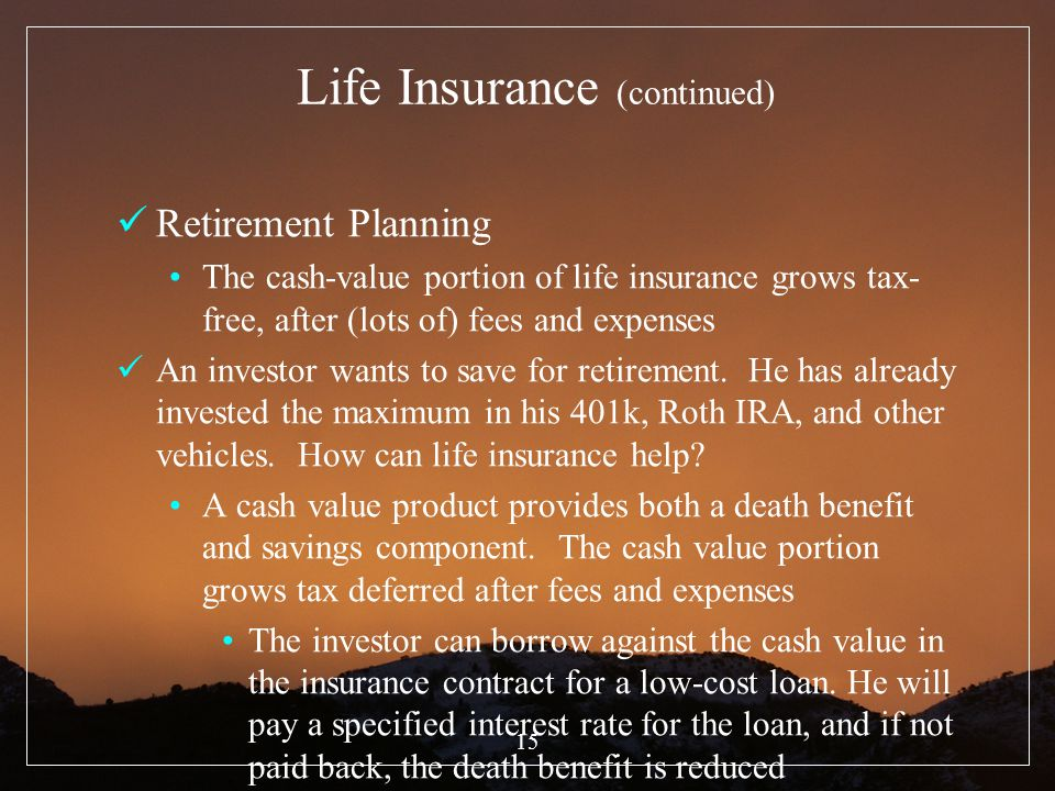 Life Insurance (continued)