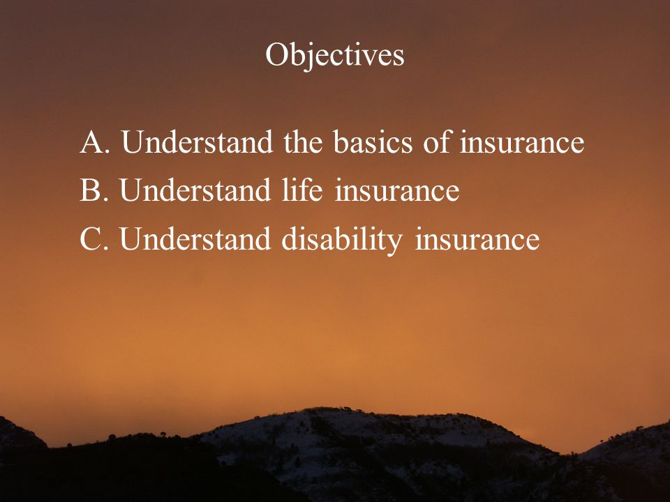 Objectives A. Understand the basics of insurance.