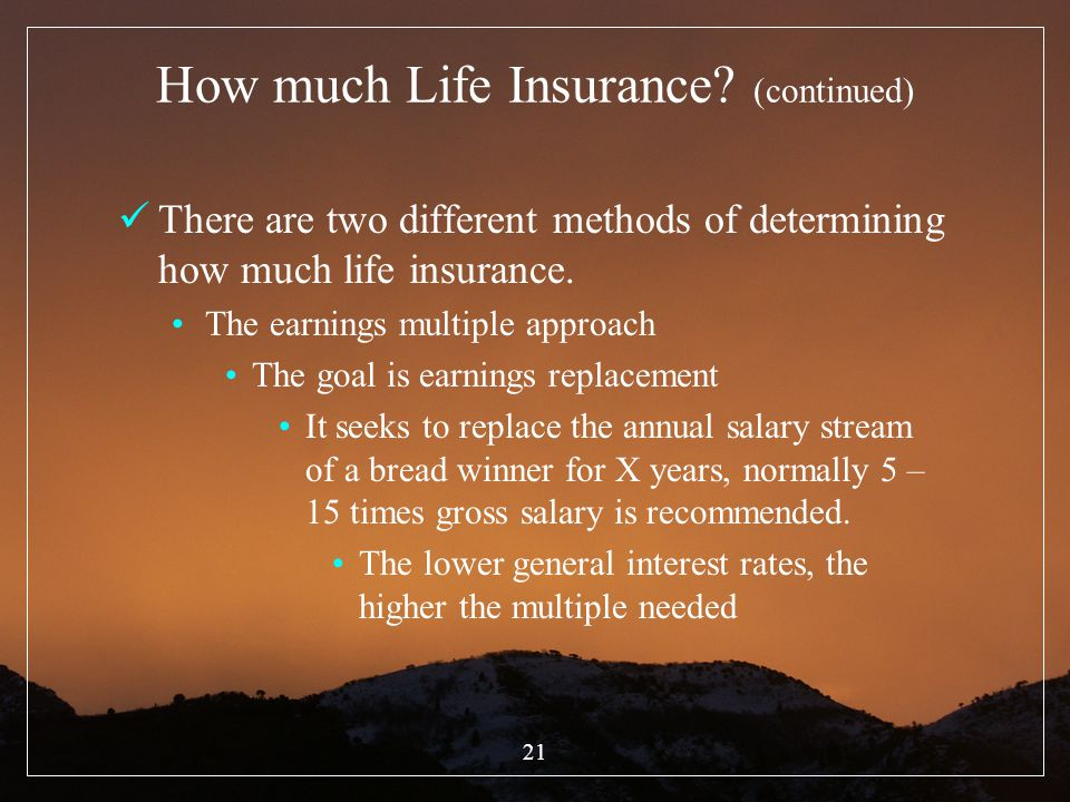 How much Life Insurance (continued)