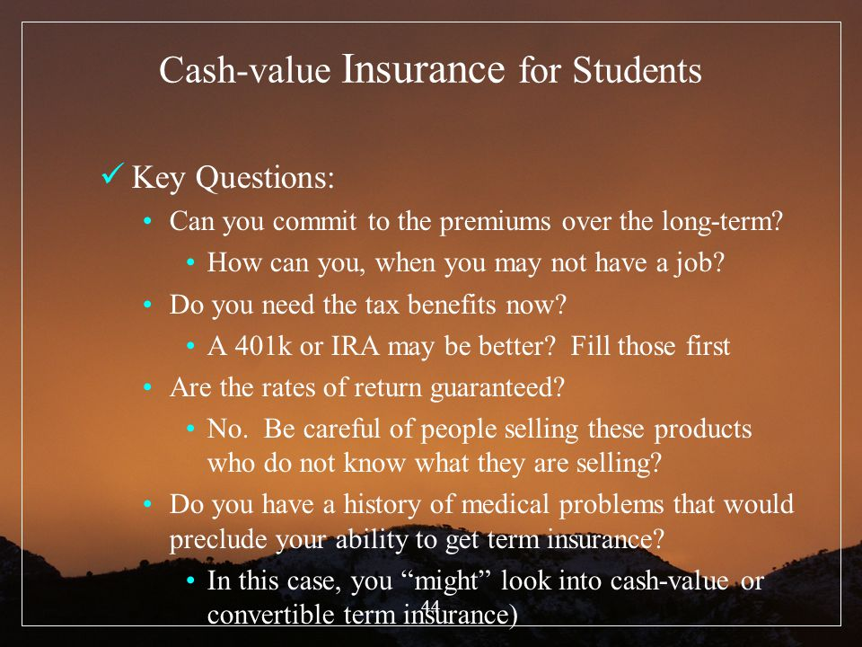Cash-value Insurance for Students
