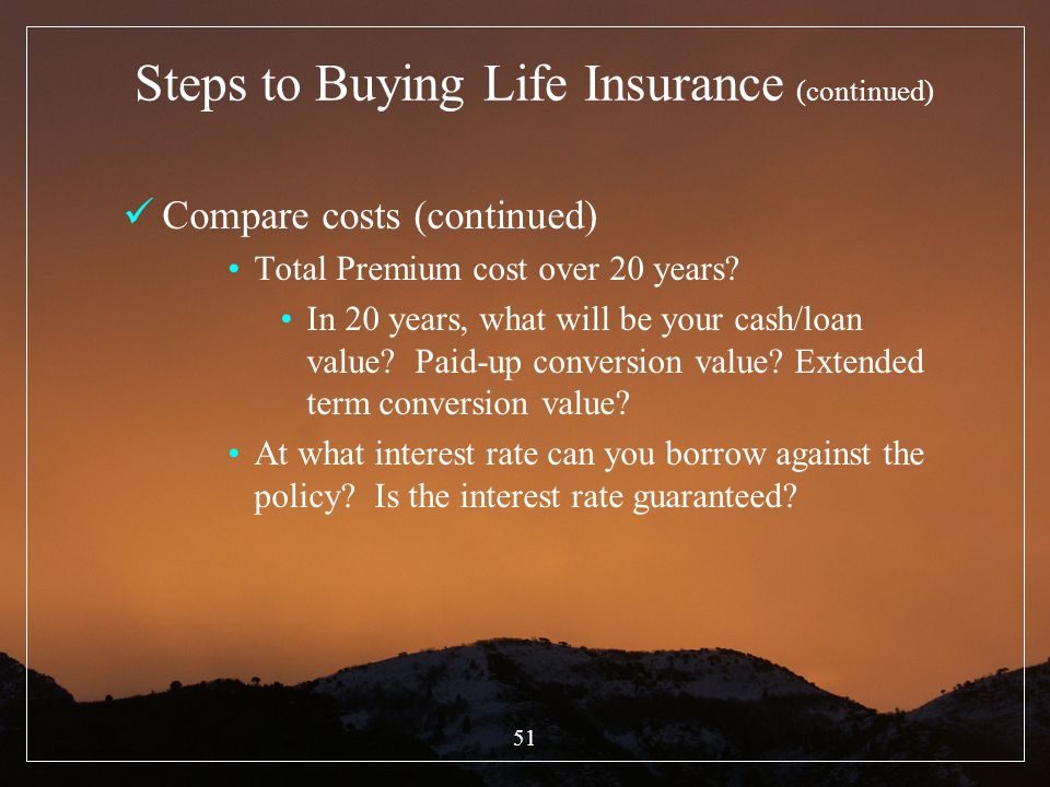 Steps to Buying Life Insurance (continued)