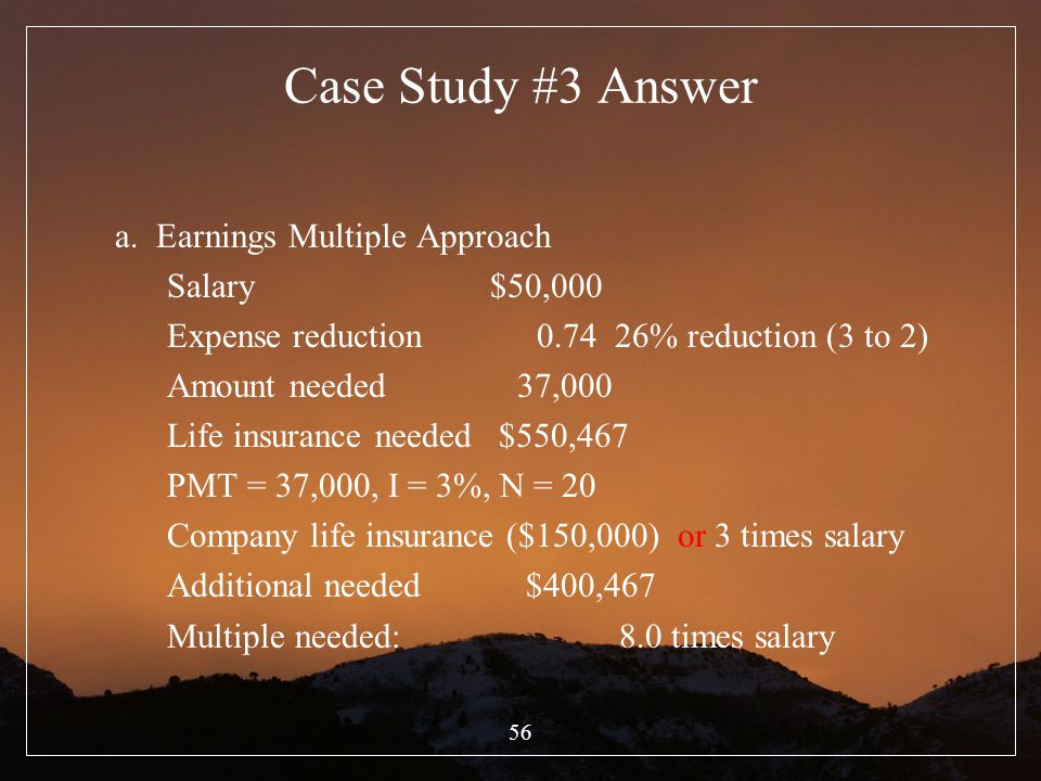 Case Study #3 Answer a. Earnings Multiple Approach Salary $50,000