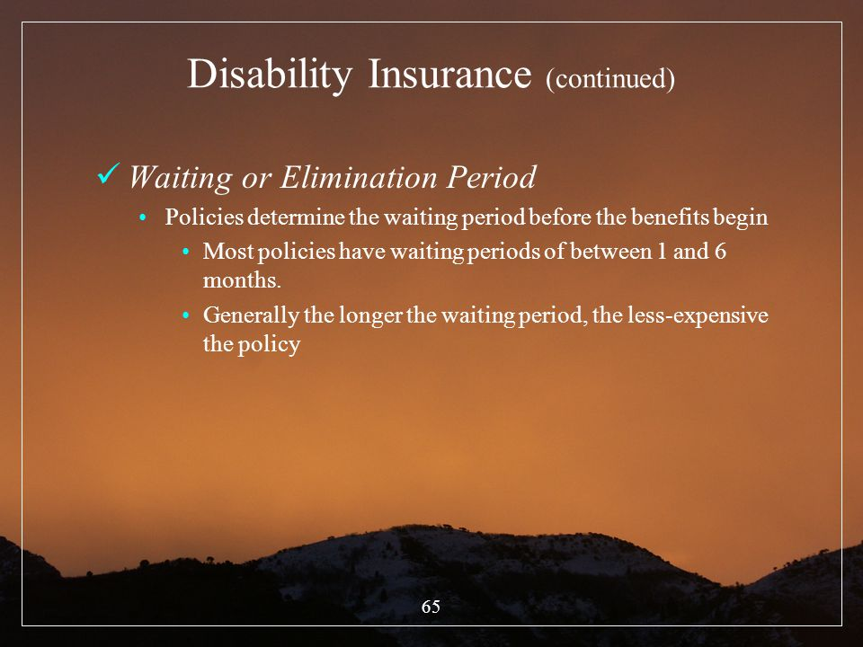 Disability Insurance (continued)