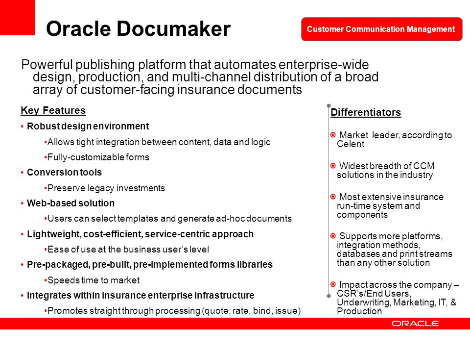 Oracle Documaker Customer Communication Management.