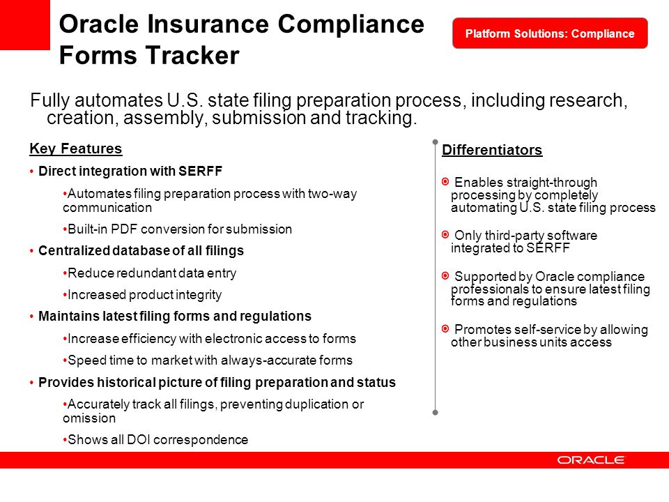 Oracle Insurance Compliance Forms Tracker
