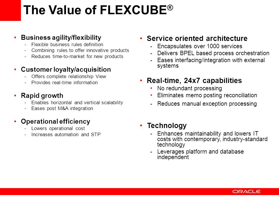 The Value of FLEXCUBE® Service oriented architecture