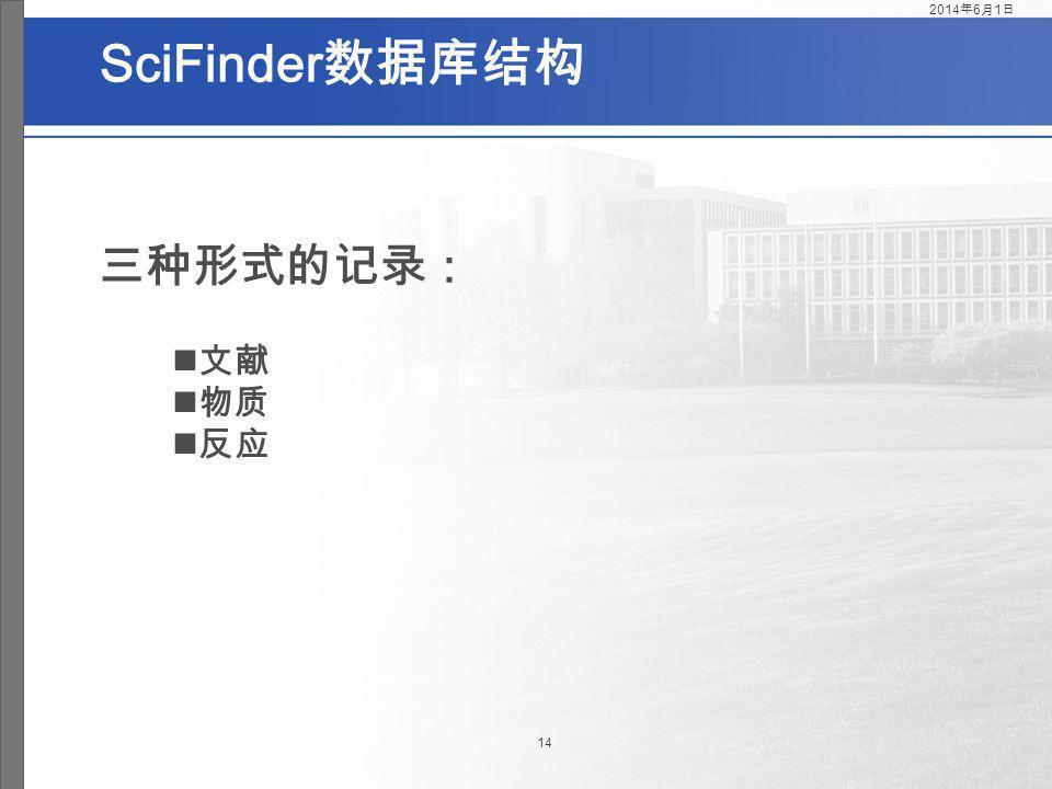 2017年3月31日 SciFinder数据库结构 三种形式的记录: 文献 物质 反应
