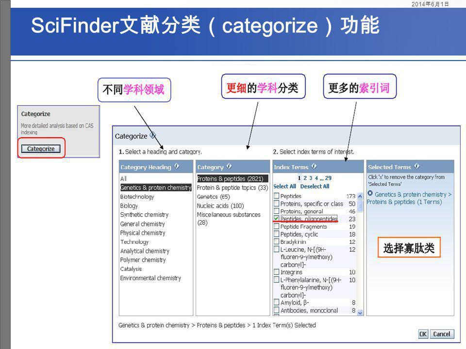 SciFinder文献分类(categorize)功能