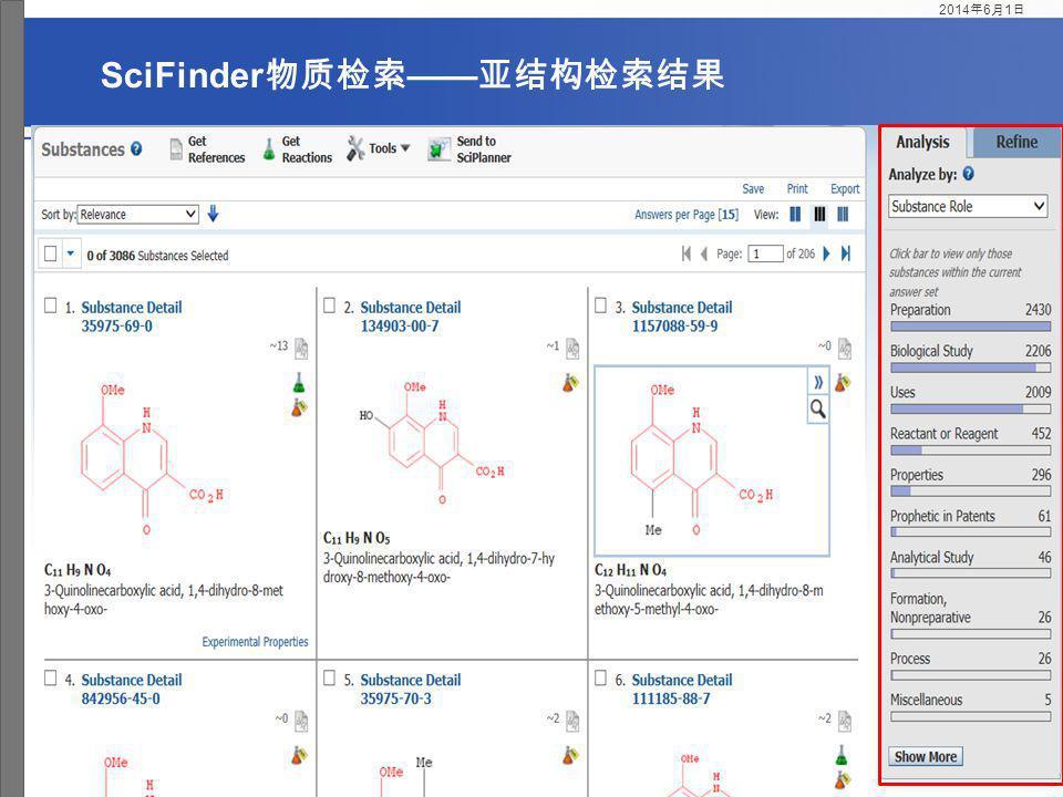 SciFinder物质检索——亚结构检索结果