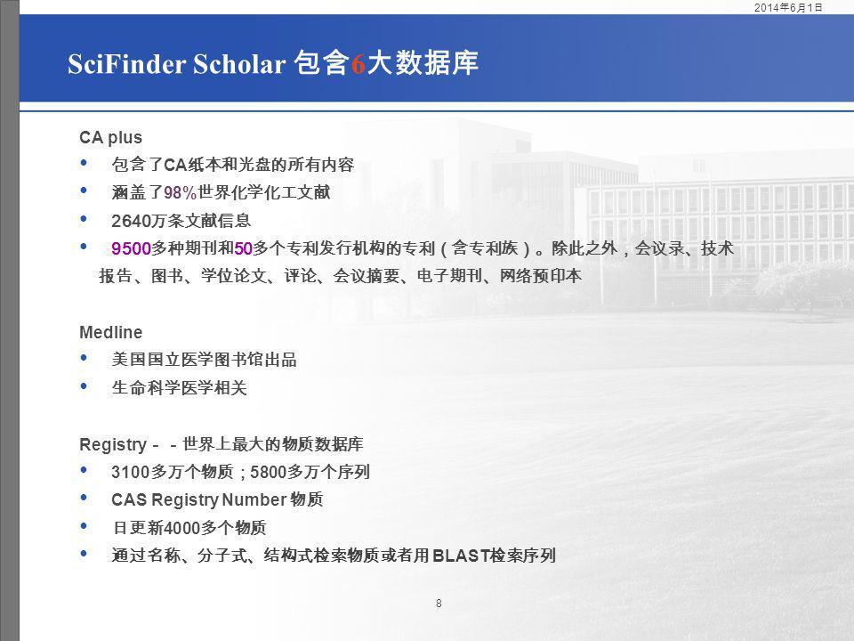 SciFinder Scholar 包含6大数据库