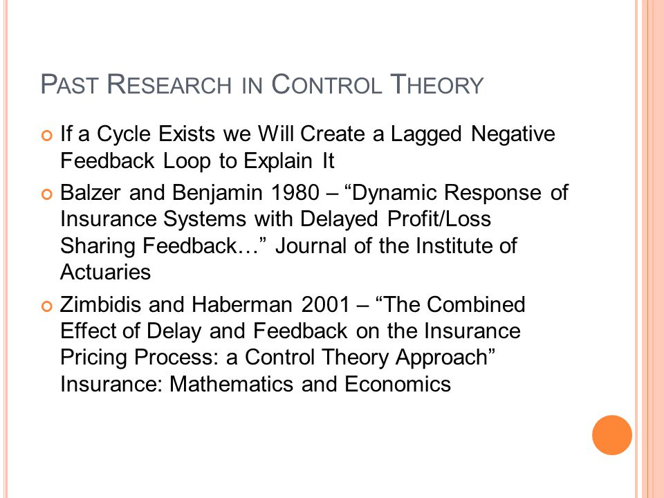 Past Research in Control Theory