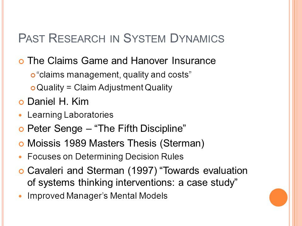 Past Research in System Dynamics