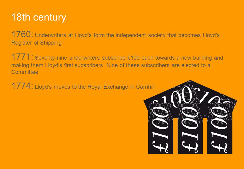 18th century 1760: Underwriters at Lloyd's form the independent society that becomes Lloyd's Register of Shipping.