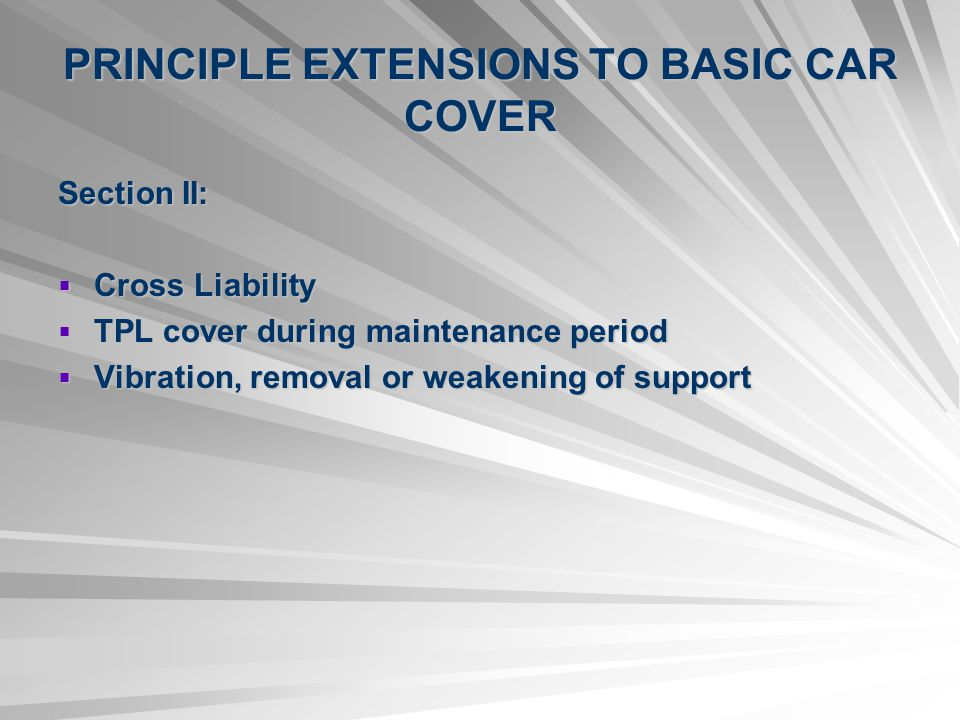 PRINCIPLE EXTENSIONS TO BASIC CAR COVER