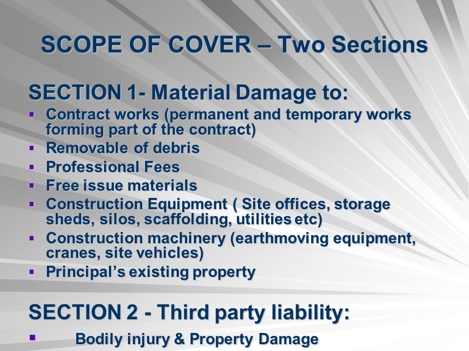 SCOPE OF COVER – Two Sections
