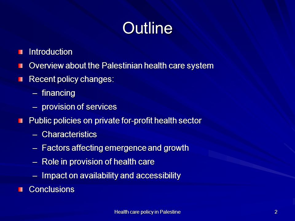 Health care policy in Palestine