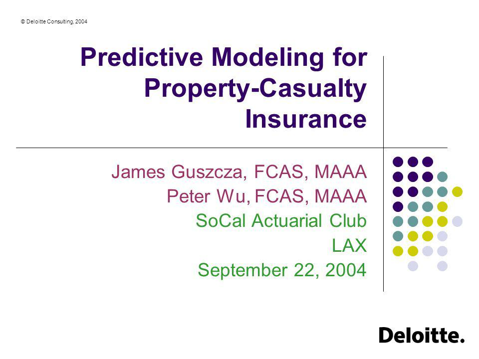 Predictive Modeling for Property-Casualty Insurance