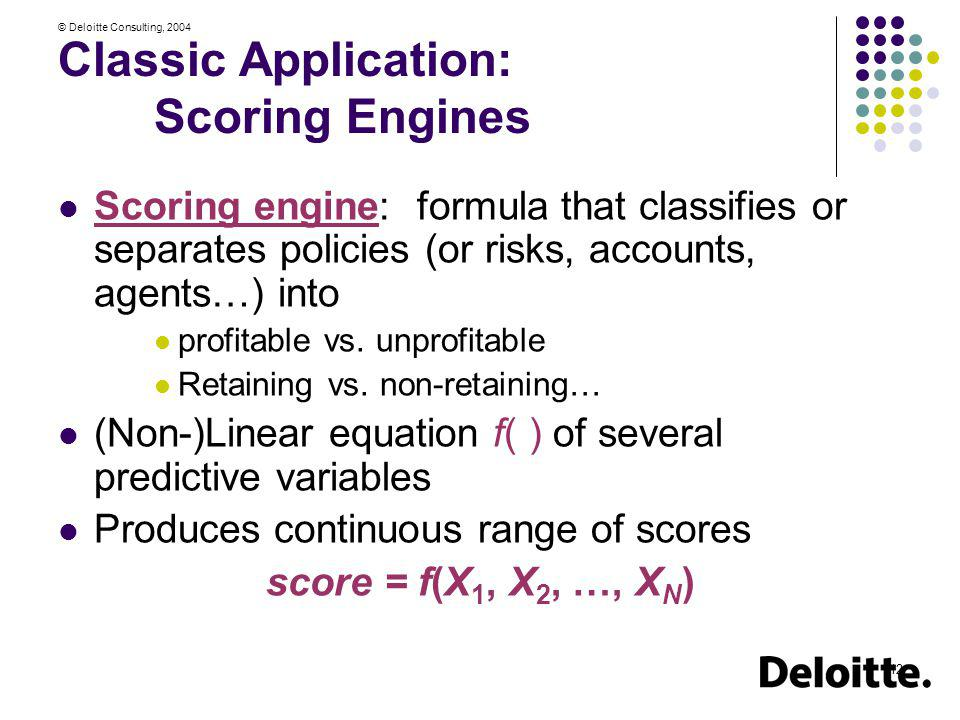 Classic Application: Scoring Engines