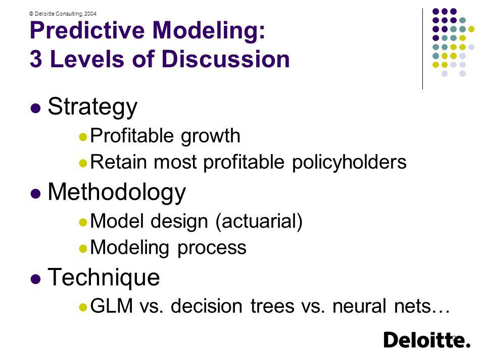 Predictive Modeling: 3 Levels of Discussion