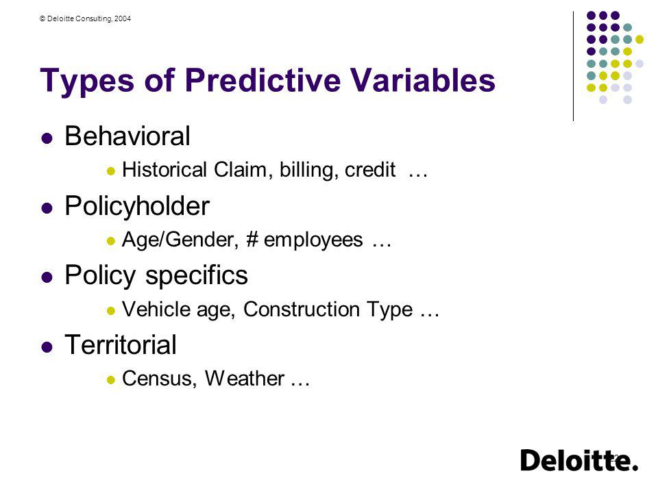 Types of Predictive Variables