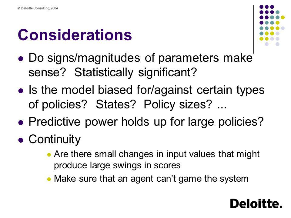 Considerations Do signs/magnitudes of parameters make sense Statistically significant