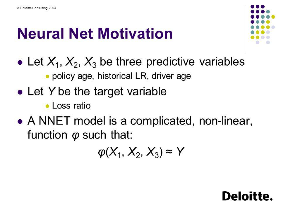 Neural Net Motivation Let X1, X2, X3 be three predictive variables