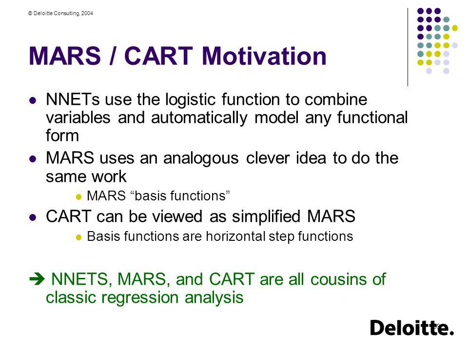 MARS / CART Motivation NNETs use the logistic function to combine variables and automatically model any functional form.