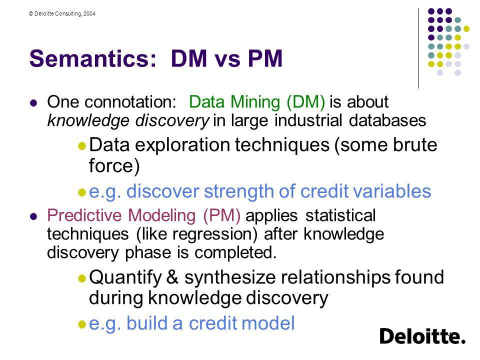 Semantics: DM vs PM Data exploration techniques (some brute force)