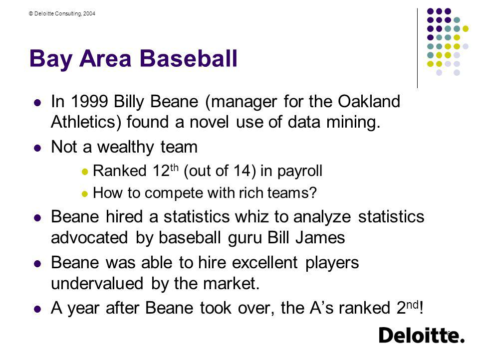 Bay Area Baseball In 1999 Billy Beane (manager for the Oakland Athletics) found a novel use of data mining.