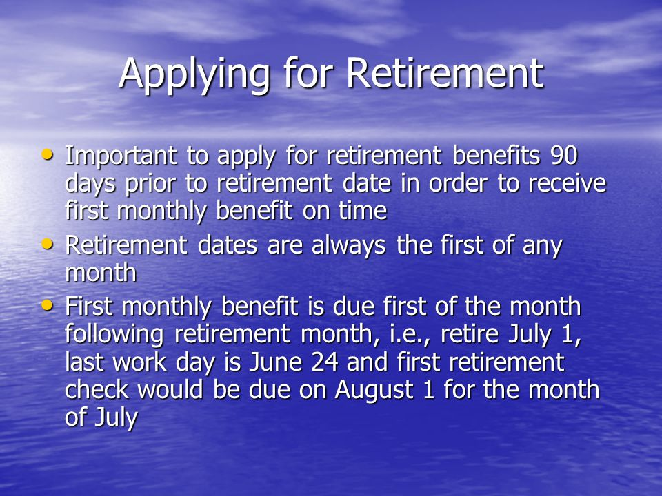 Applying for Retirement