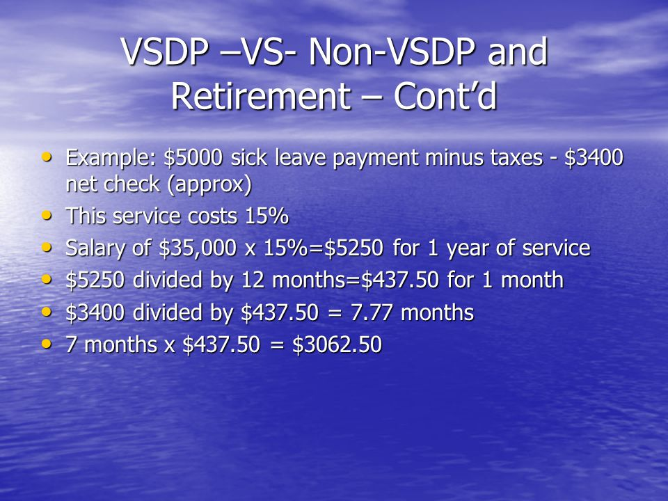 VSDP –VS- Non-VSDP and Retirement – Cont'd