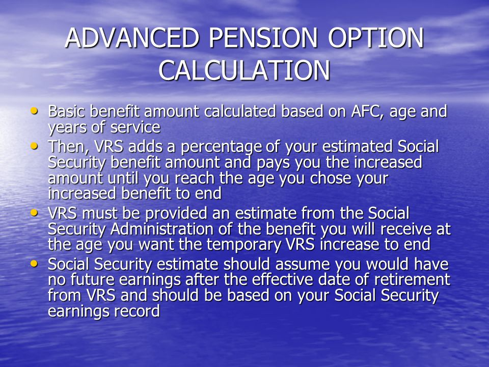 ADVANCED PENSION OPTION CALCULATION