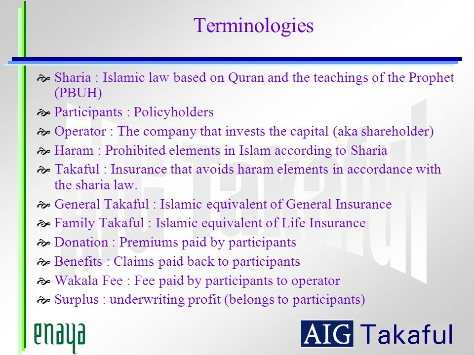 Terminologies Sharia : Islamic law based on Quran and the teachings of the Prophet (PBUH) Participants : Policyholders.