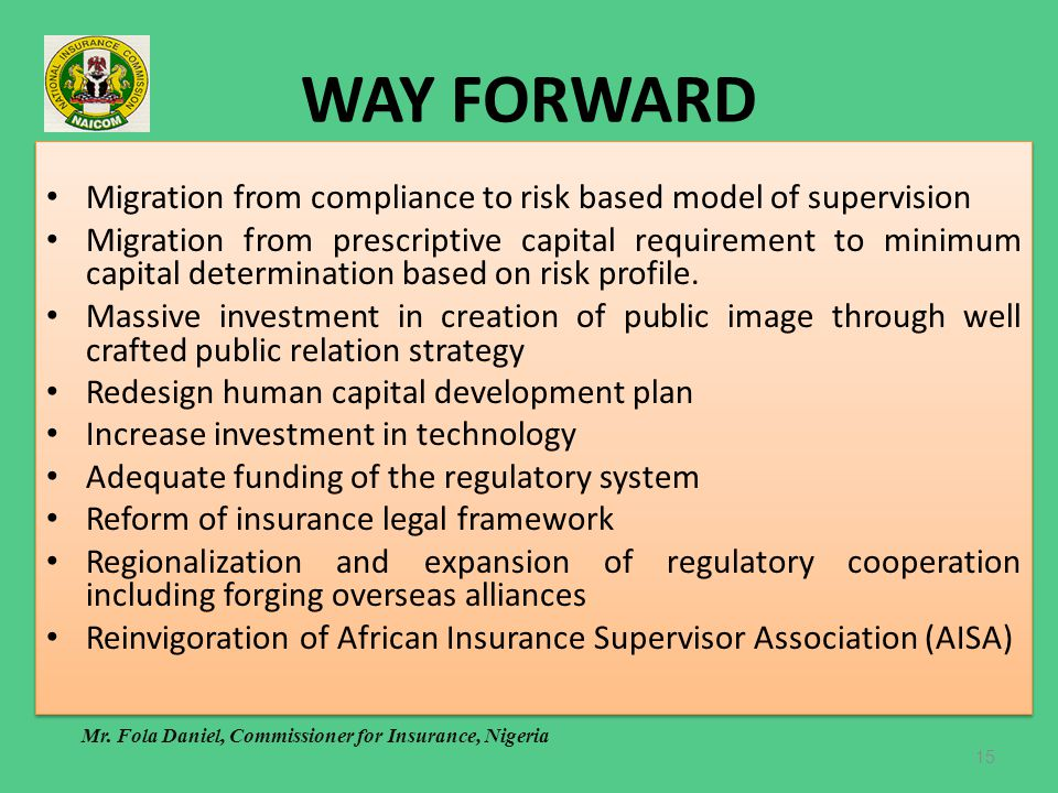 WAY FORWARD Migration from compliance to risk based model of supervision.