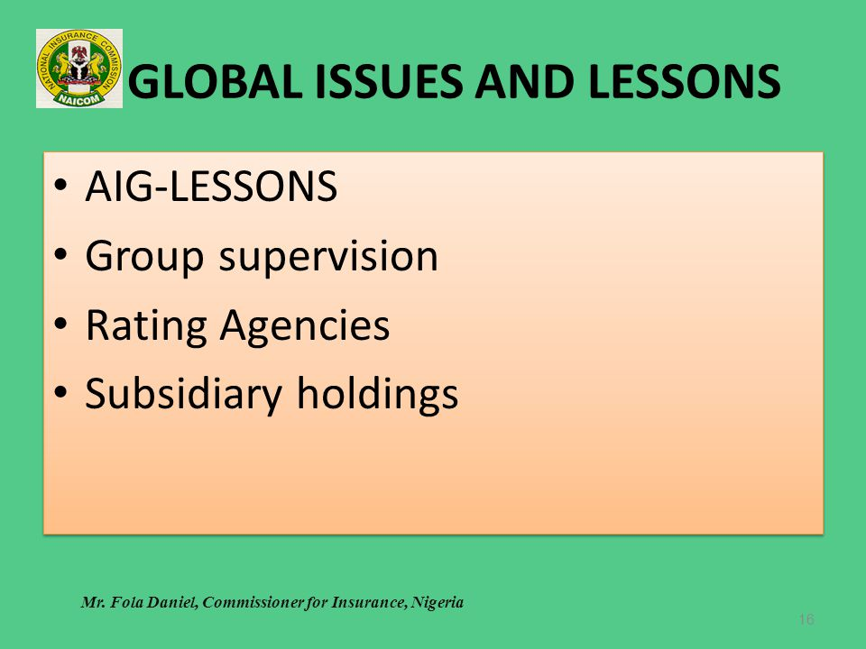GLOBAL ISSUES AND LESSONS