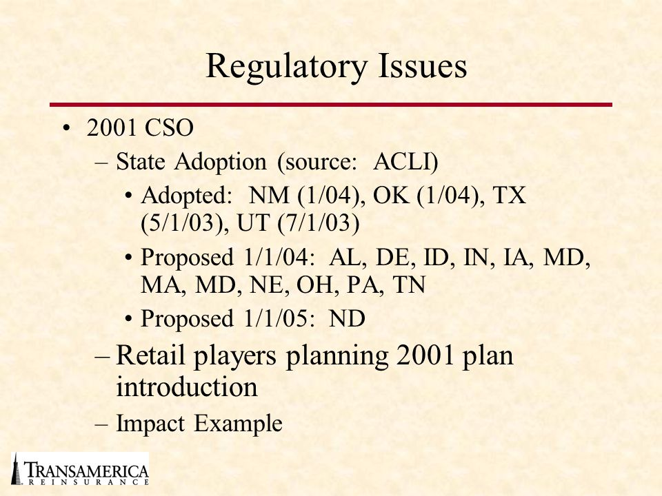 Regulatory Issues Retail players planning 2001 plan introduction