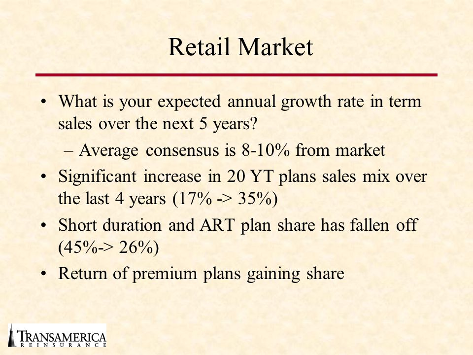 Retail Market What is your expected annual growth rate in term sales over the next 5 years Average consensus is 8-10% from market.