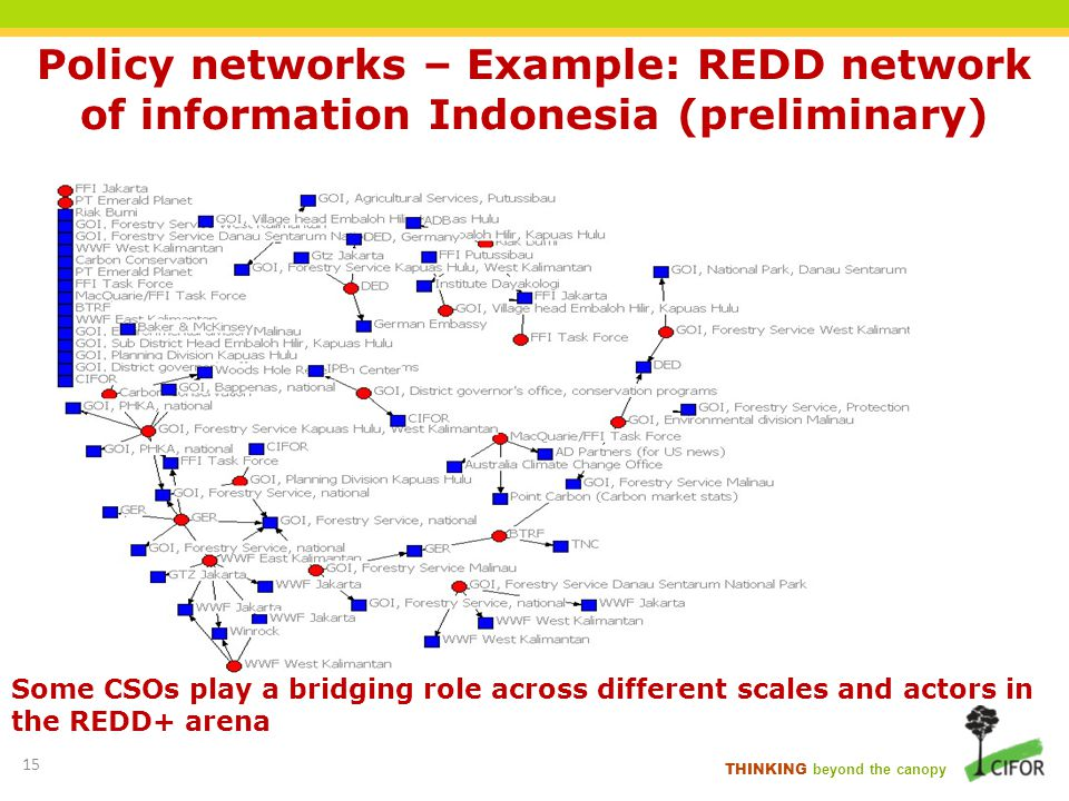 Policy networks – Example: REDD network of information Indonesia (preliminary)