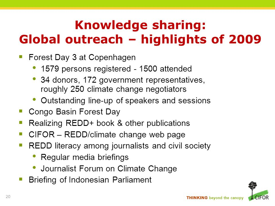 Knowledge sharing: Global outreach – highlights of 2009
