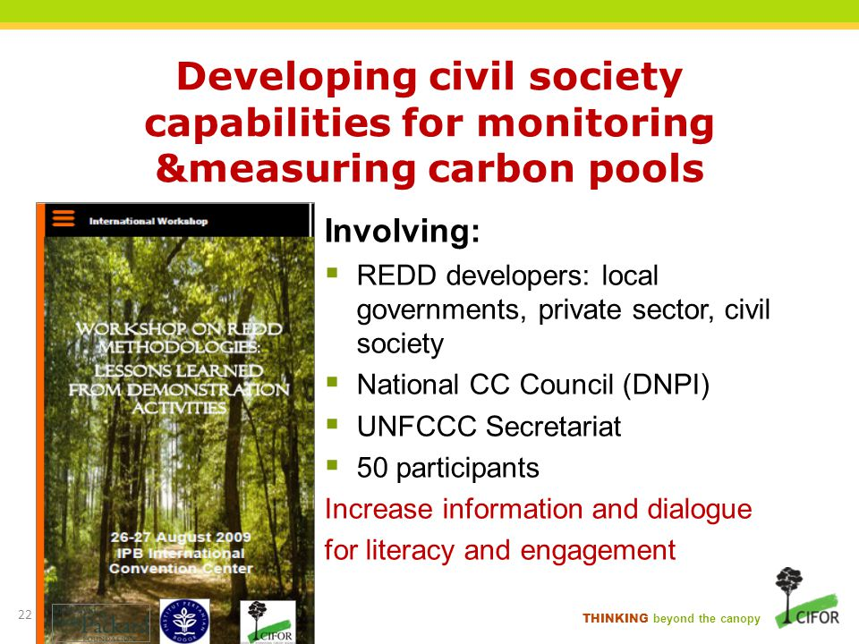 Developing civil society capabilities for monitoring &measuring carbon pools
