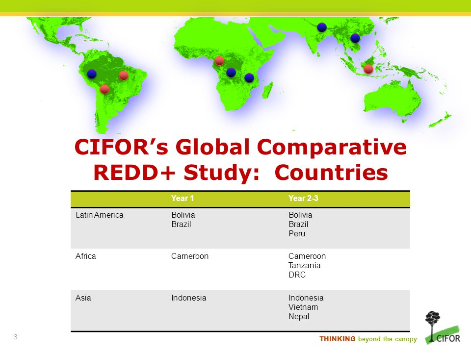 CIFOR's Global Comparative REDD+ Study: Countries