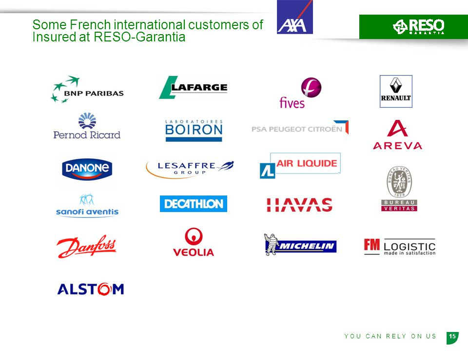 Some French international customers of Insured at RESO-Garantia
