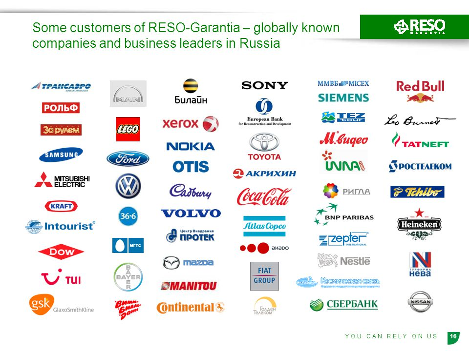 Some customers of RESO-Garantia – globally known companies and business leaders in Russia