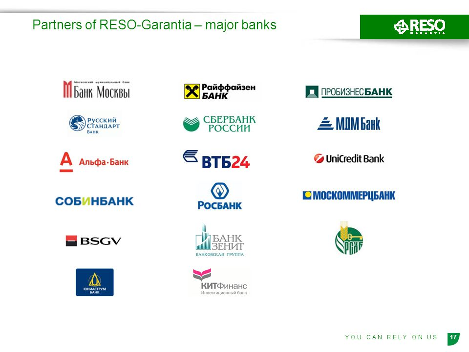 Partners of RESO-Garantia – major banks