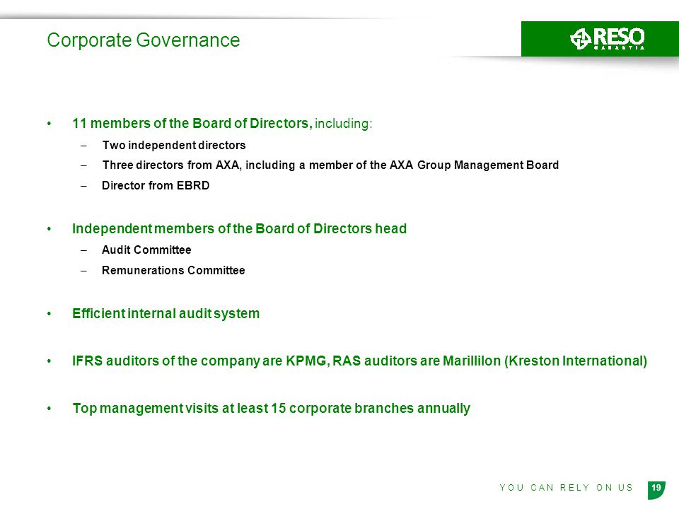 Corporate Governance 11 members of the Board of Directors, including: