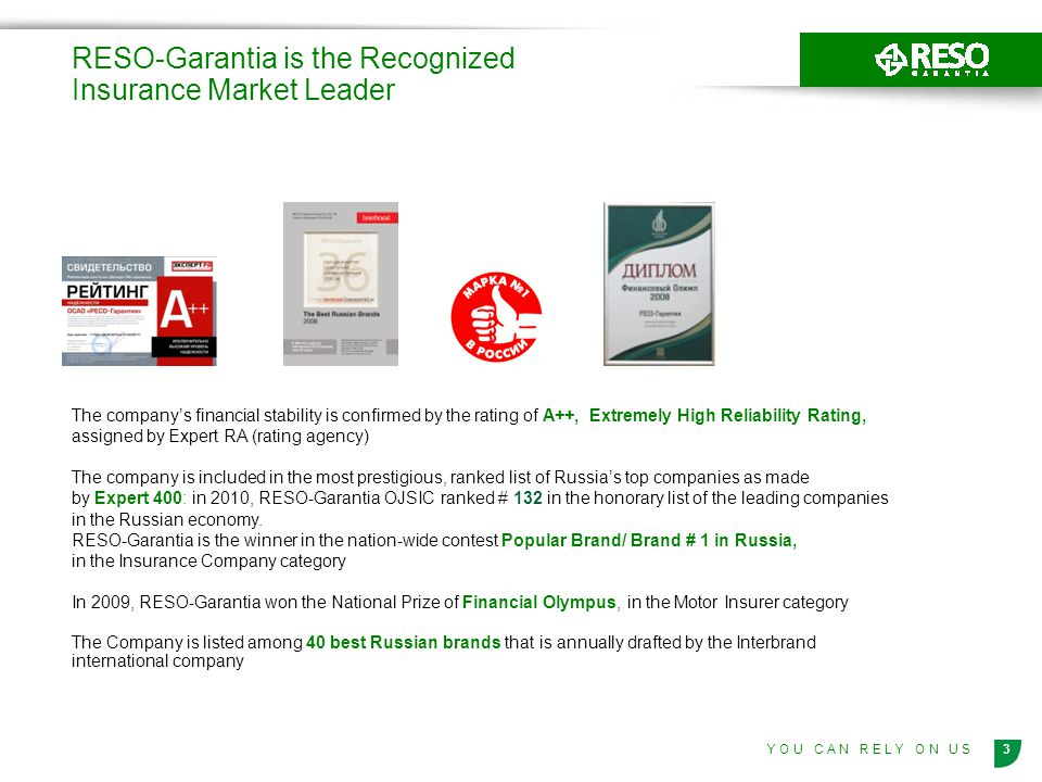 RESO-Garantia is the Recognized Insurance Market Leader
